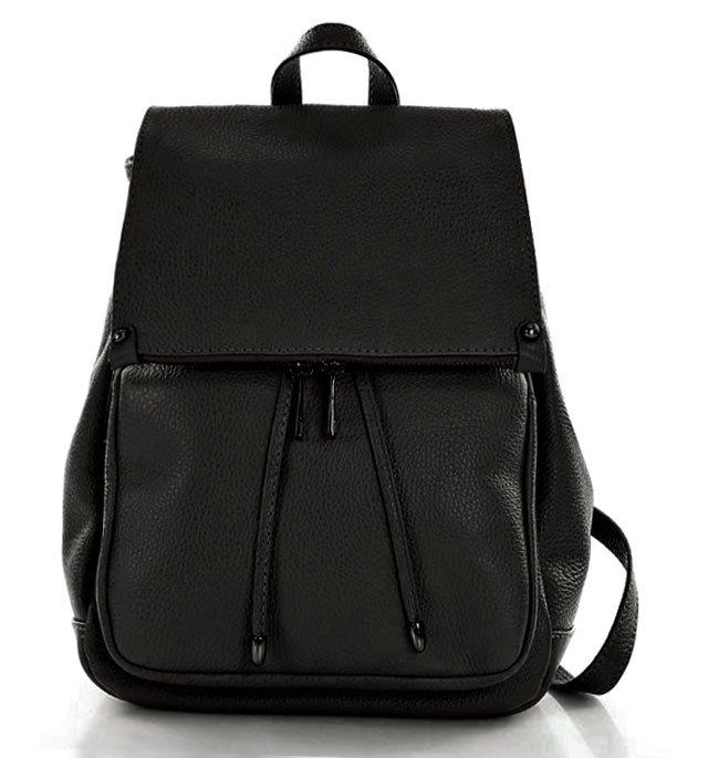 4a6f80aeb9f13 Skórzany czarny plecak damski AMBER; Skórzany czarny plecak damski AMBER ...