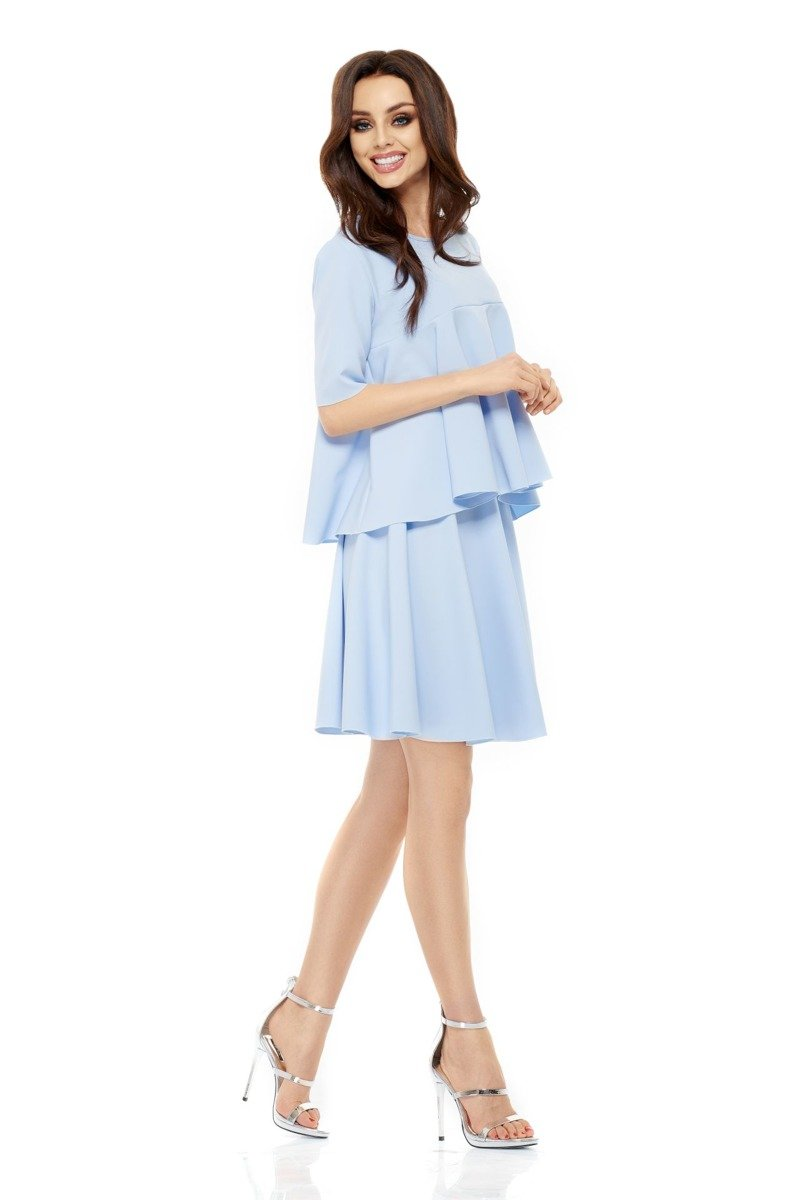 a5fc30a6 lemoniade Komplet rozkloszowana bluzka i spódnica z koła błękitna ...
