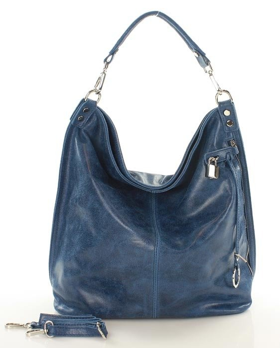 8ef65f291795c ... Skóra naturalna torebka worek Isabella MAZZINI niebieska ...