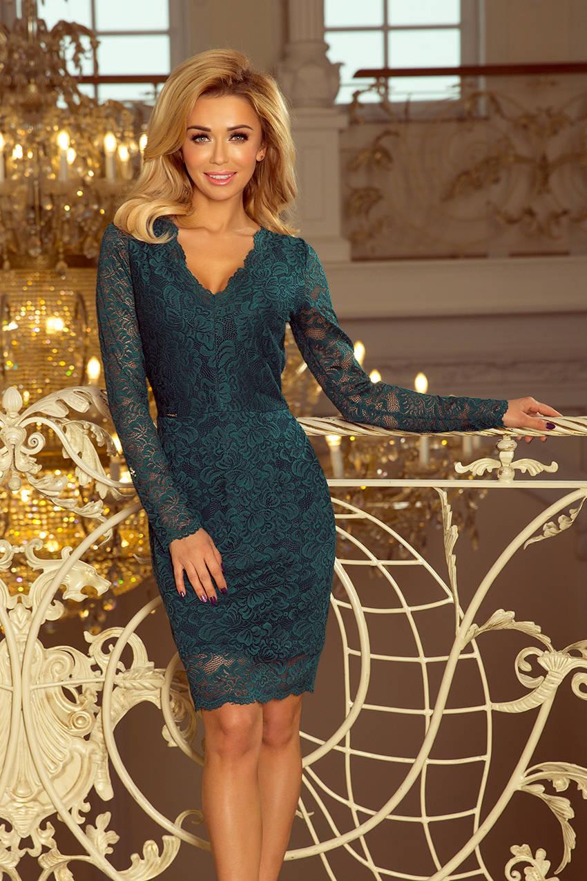 00e5aa0b11 ... Dakota Sukienka koronkowa z długim rękawkiem i DEKOLTEM - ZIELONA ...
