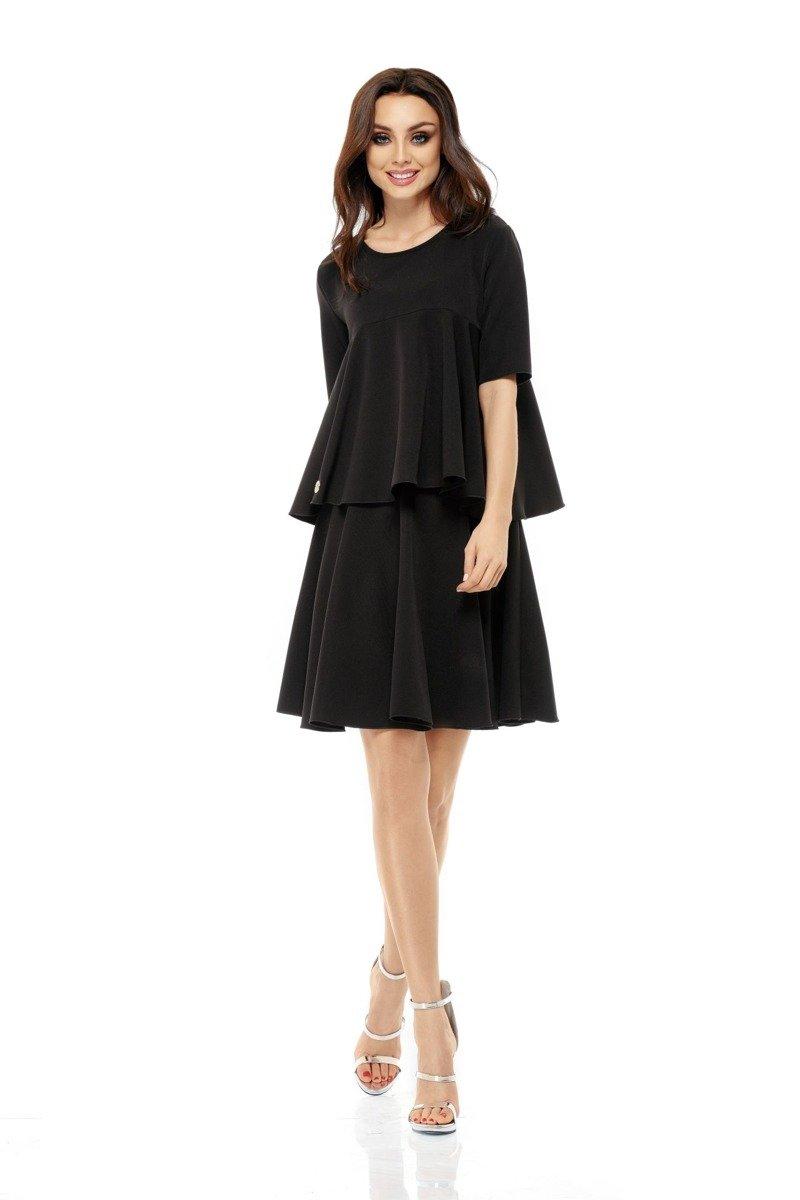 4edd016e lemoniade Komplet rozkloszowana bluzka i spódnica z koła czarna ...