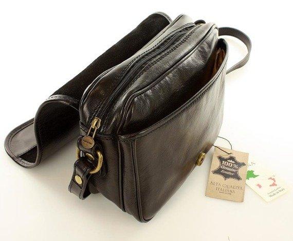 DESTINY - Włoska torebka na długim pasku MAZZINI czarna