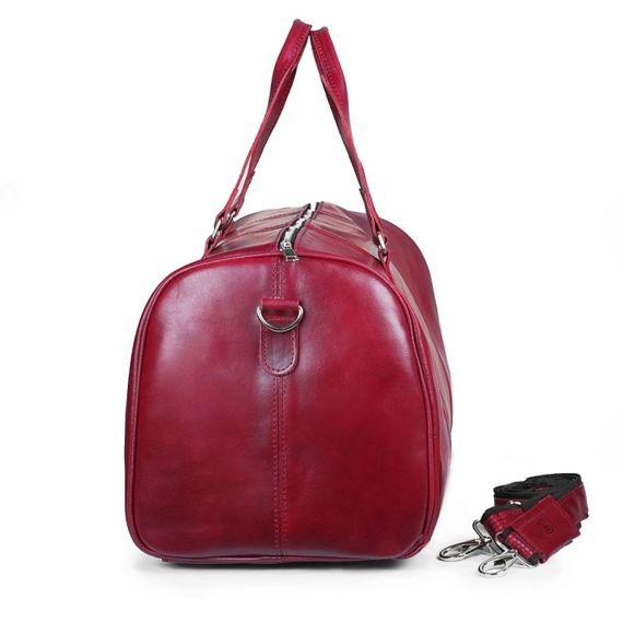 CORTEZ Czerwona męska torba ze skóry Podróżna smooth leather