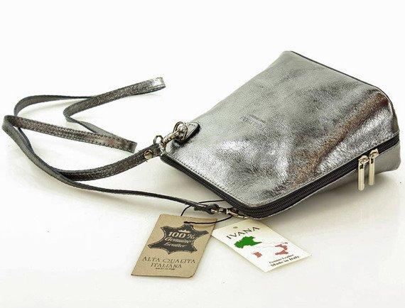 ELAINA Listonoszka skórzana torebka MAZZINI srebrna