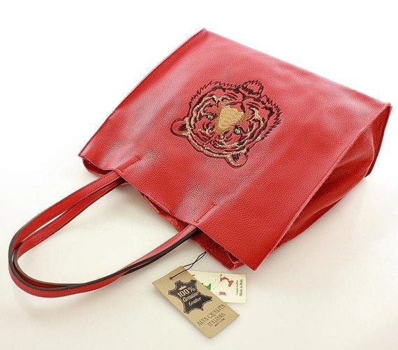 TIGER skórzana Włoska torebka MAZZINI czerwona