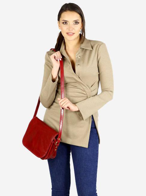 DESTINY - Włoska torebka na długim pasku MAZZINI czerwona