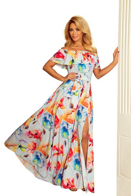 CONCHITA Długa suknia z hiszpańskim dekoltem - kolorowe malowane kwiaty