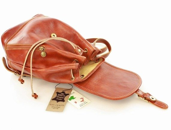 CELESTA Włoski plecak skórzany camel
