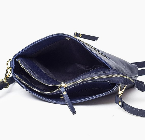 Skórzana Włoska granatowa torebka listonoszka MELANIA