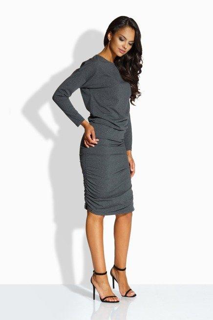 Elegancka dopasowana sukienka grafit AMBER