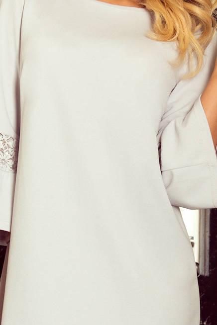 Haven sukienka z koronką na rękawkach - JASNO SZARA