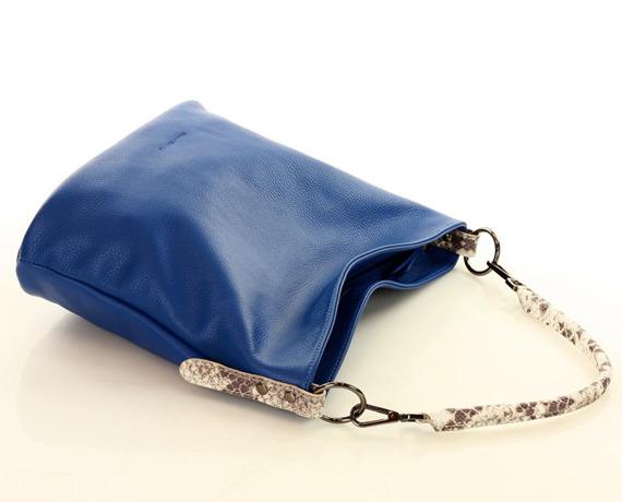 MARCO MAZZINI Torebka na ramię shoulder bag skóra niebieski