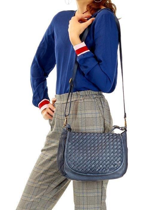 MARCO MAZZINI Torebka skórzana crossbody vintage pelle lavata niebieski jeans