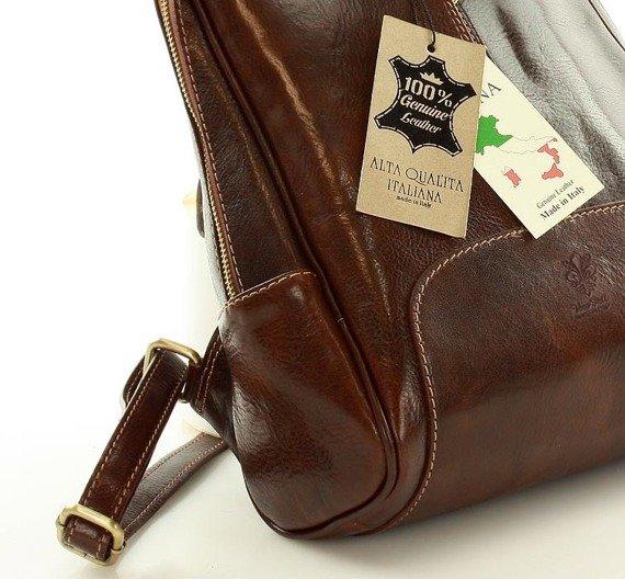 DARELLE Plecak skórzany włoski brązowa