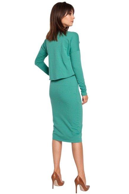 GEMMA Sukienka ołówkowa z nakładaną bluzą - zielona
