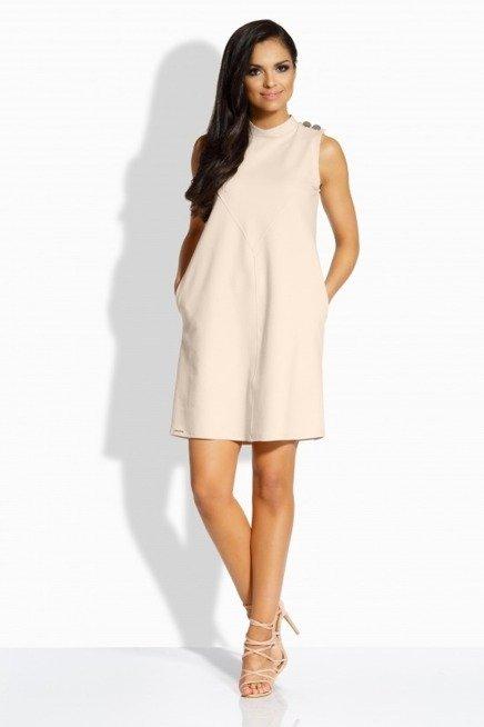 Kobieca luźna sukienka z ozdobnymi guzikami beżowy VOLETA