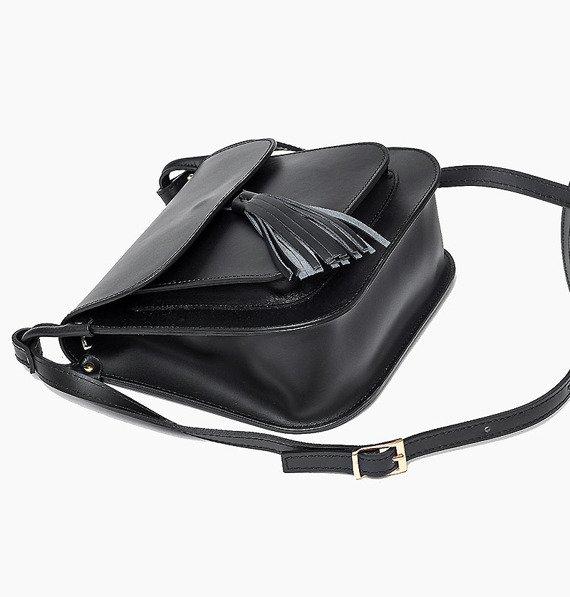 Skórzana torebka listonoszka Czarna BONITA