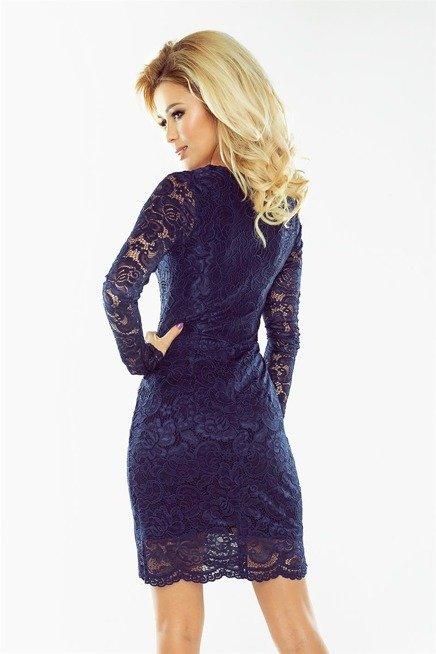Dakota Sukienka koronkowa z długim rękawkiem i DEKOLTEM - GRANATOWA