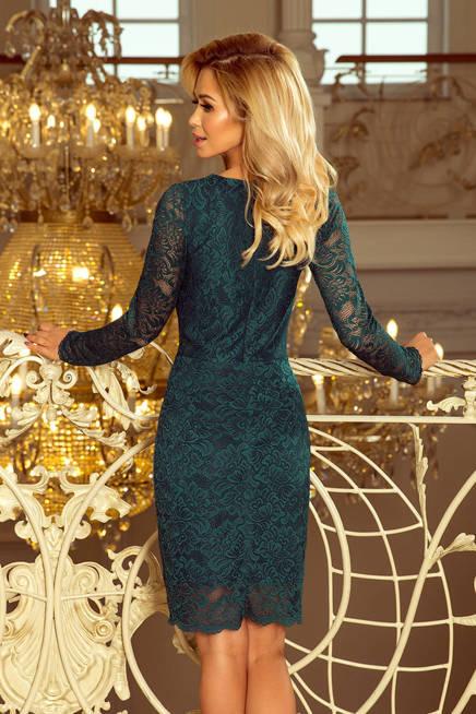 Dakota Sukienka koronkowa z długim rękawkiem i DEKOLTEM - ZIELONA