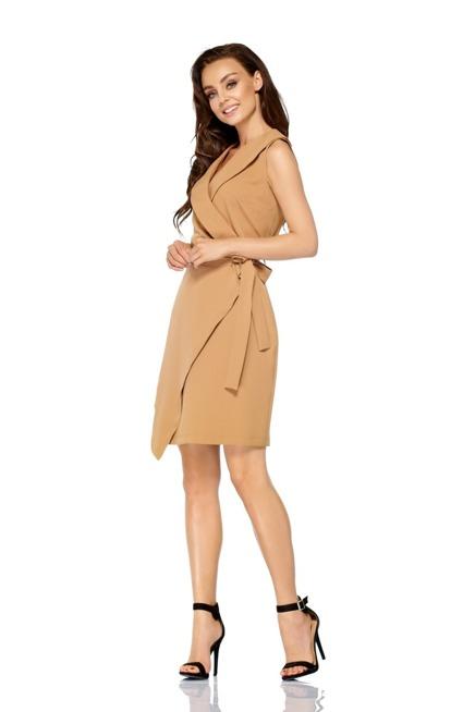 Sukienka kopertowa wiązana w pasie bez rękawów kamel