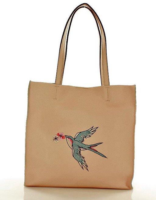 Uccello Włoska torebka ze skóry MAZZINI różowa