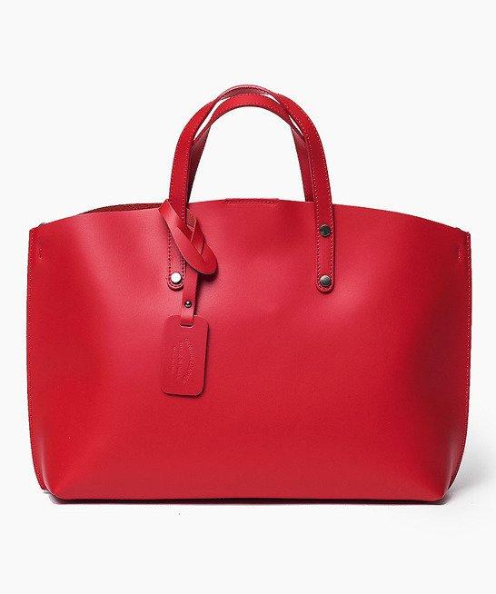 Włoska Torebka Shopper Skórzana czerwona BLANCA
