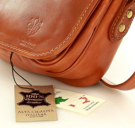 DESTINY - Włoska torebka na długim pasku camel