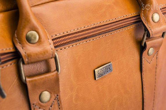 Skórzana torba na ramię laptopa Solier MARCEL Camel