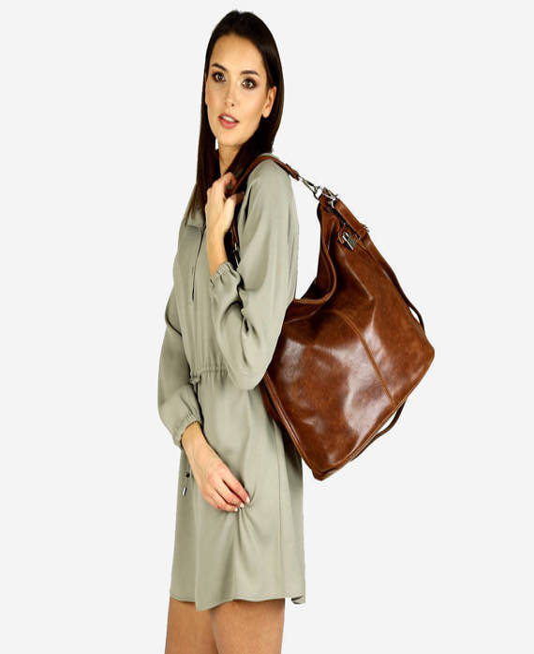 Ponadczasowa torebka worek skórzana - Isabella brąz chiaro