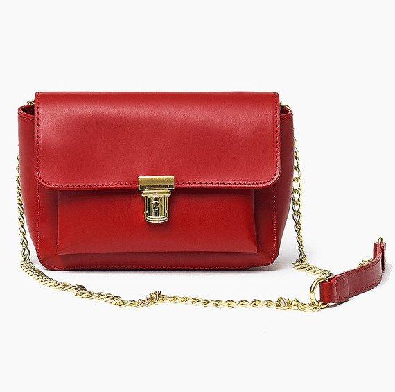 Włoska skórzana torebka CHANELKA czerwona