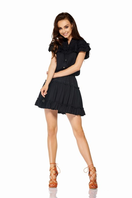 Komplet bluzka + spódniczka z falbankami czarny