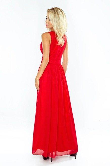 Marion MAXI szyfonowa sukienka z rozcięciem - CZERWONA