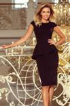 KLAUDIA Elegancka sukienka MIDI z baskinką - CZARNA