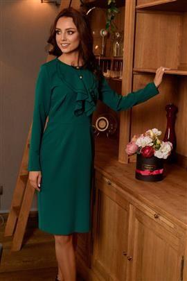 ALWAYS FREE Sukienka biznesowa z żabotem ciemna zieleń