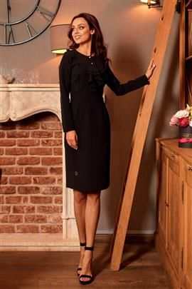ALWAYS FREE Sukienka biznesowa z żabotem czarny