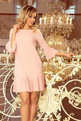 BRANDY - plisowana wygodna sukienka - BRZOSKWINIA