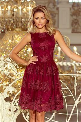 DORLIN Ekskluzywna rozkloszowana sukienka z haftem - BORDOWA