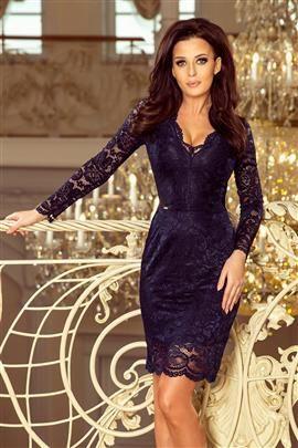 Dakota Koronkowa sukienka z długim rękawkiem i DEKOLTEM - GRANATOWA