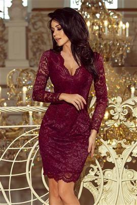 Dakota Sukienka koronkowa z długim rękawkiem i DEKOLTEM - BORDOWA