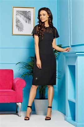 Elegancka sukienka z szyfonowymi rękawami i dekoltem czarny