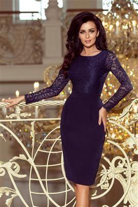 GABI elegancka ołówkowa sukienka z koronką - GRANATOWA