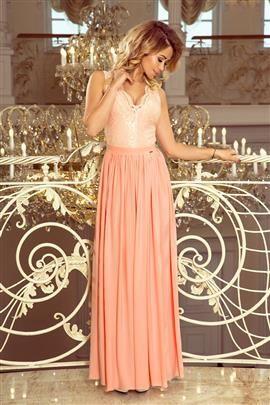 JULIA długa suknia bez rękawków z koronkowym dekoltem - BRZOSKWINIA