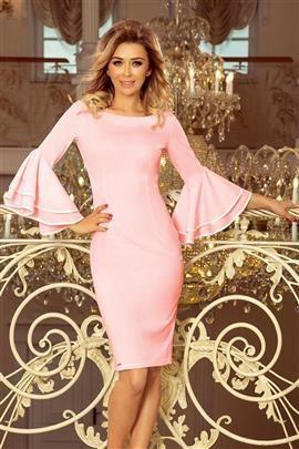KENDRA sukienka z hiszpańskimi rękawkami - PASTELOWY RÓŻ