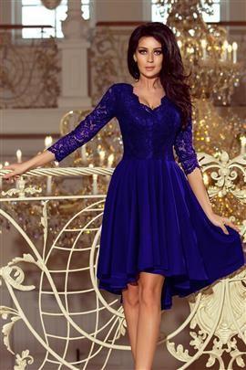 KLARA - sukienka z dłuższym tyłem z koronkowym dekoltem - CHABROWA
