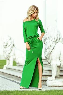 KLARIS MAXI sukienka sportowa z rozcięciem - ZIELONA