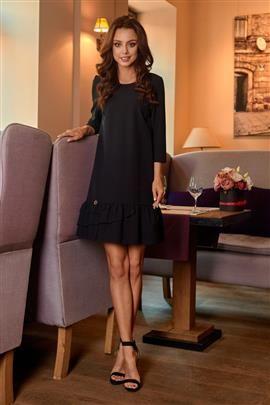 Klasyczna sukienka z falbanką czarny LILIAN
