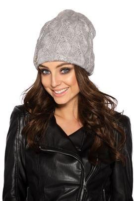 Kobieca czapka w warkocze jasnoszary