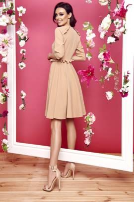 Kobieca sukienka z falbankami ciepły beż
