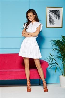 Komplet bluzka + spódniczka z falbankami biały