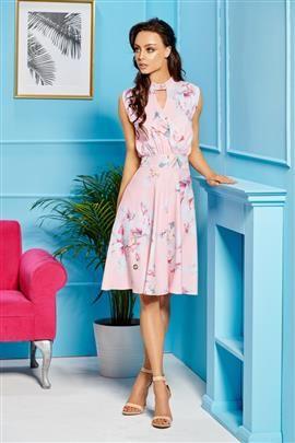 Kopertowa sukienka bez rękawów do kolan pudrowy róż
